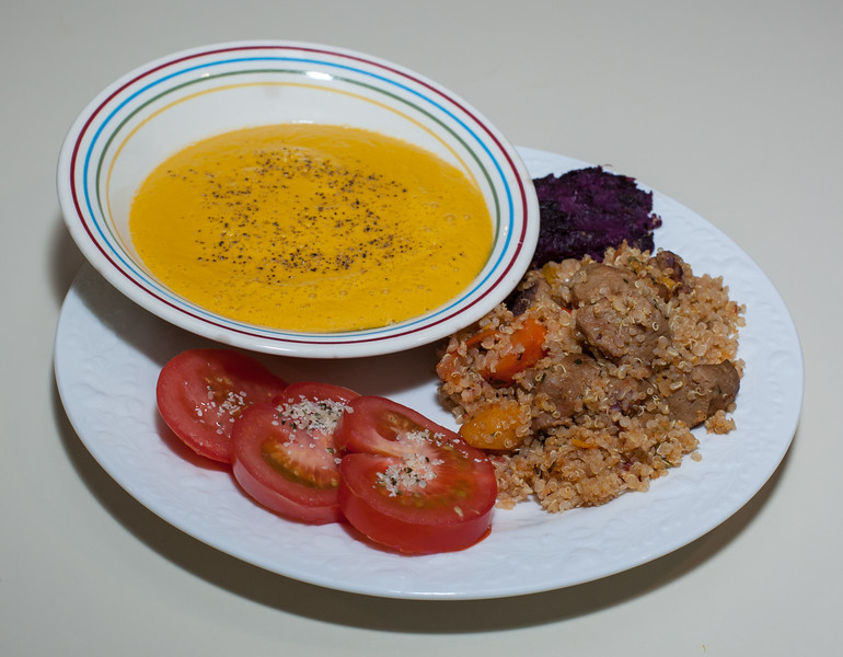 00aFavorite 20140102 Carrot-Ginger Soup, Leftovers (Quinoa-Couscous Seitan, Purple Sweet Potato Mash) (2028)
