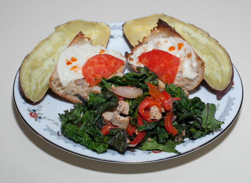 00aFavorite 20130526 Kale and Tofu Saute with Japanese Sweet Potato and Vegan Swiss Cheese Open-Faced Sandwich (2302)