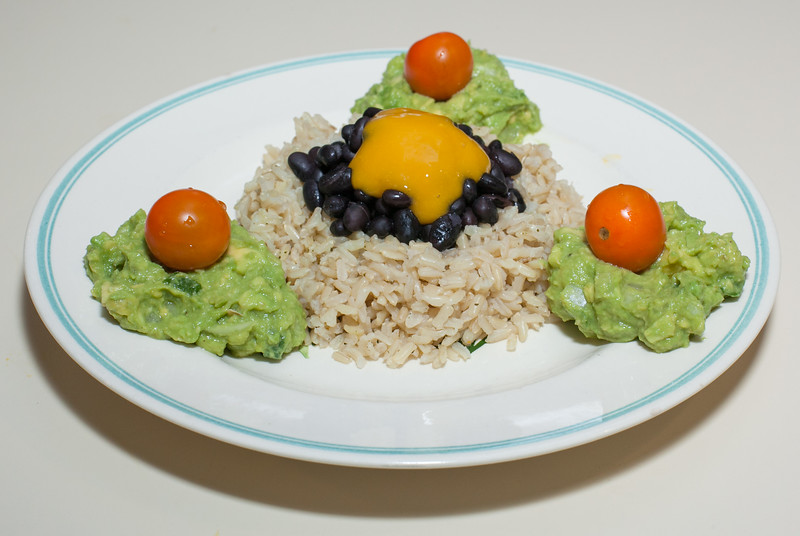 00aFavorite 20160626 (2010) Black Beans w Mango Puree over Brown Rice, Guacamole and Sungold Tomatoes (Almost No Added Fat)