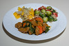 00aFavorite 20171031 (1832) Halloween Seitan and Kale, WhWht Couscous w Brussels Sprouts, Fermented Vegs w Bell Pepper (No Added Fat)