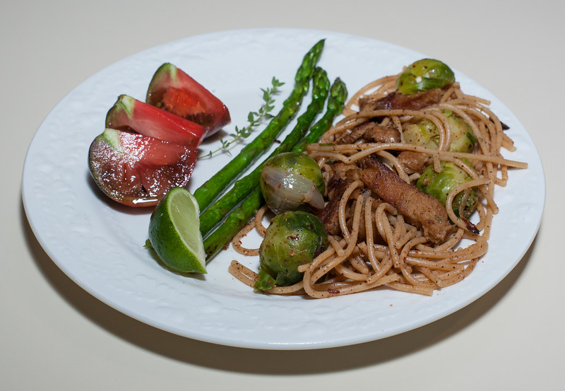 00aFavorite 20120506 Brussels Sprouts w Grilled Seitan, Whole Wheat Pasta, and Jerk Seasoning (2113)