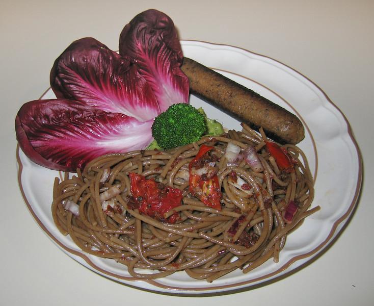 00aFavorite 20090319 Radicchio, Radicchio Pasta with Roasted Tomato, Vegan Apple Sage Sausage