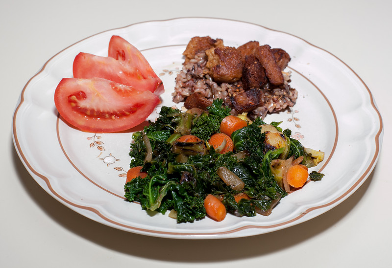 00aFavorite 20120131 Kale with Carrots and Brussels Sprouts, Limed Jerked Seitan over Brown-Wild Rice (2021)
