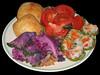 20061204 Flowering Kale sauteed w seitan, Spinach Filo w Potato and Roasted Pepper [bg black]