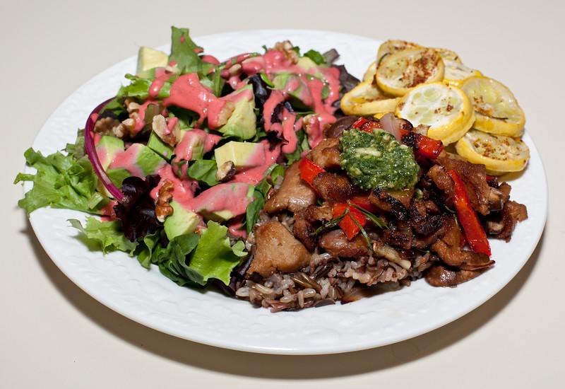 00aFavorite 20110522 Seitan with pesto, Salad w fresh organic strawberry dressing, jerk-spiced roasted crook-neck squash