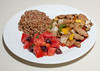 00aFavorite 20170410 (1924) Jerk Mango and Seitan w Madagascar Pink Rice and Tomato-Kalamata Salad (No Added Fat)