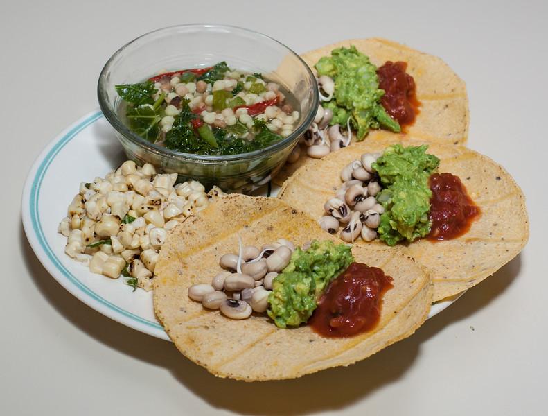 00aFavorite 20120824 Corn Tortillas w Black-Eyed Peas and Guacamole, Fregola Sarda (Sardinian Couscous) Soup w Kale, Corn w fresh Basil Chiffonade (1953)