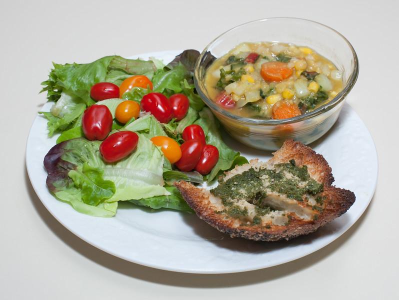 00aFavorite 20150529 Yellow Split Pea Stew w Chard, Kale, and Corn, Pesto Toast (No Added Fat) (2029)