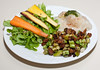 00aFavorite 20110610 Seitan and Green Beans with Pesto-Topped Mashed Potato and Rainbow Carrot