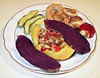 20090406 Purple Sweet Potato, Acorn Squash w Tempeh, Cornmeal Onion Rings