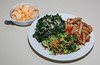 00aFavorite 20140317 Steamed Kale w vegan 'Parmesan', Broccoli Salad, Pasta w Beans, Gingered Melon (FFL cooking, almost no added fat) (2108)
