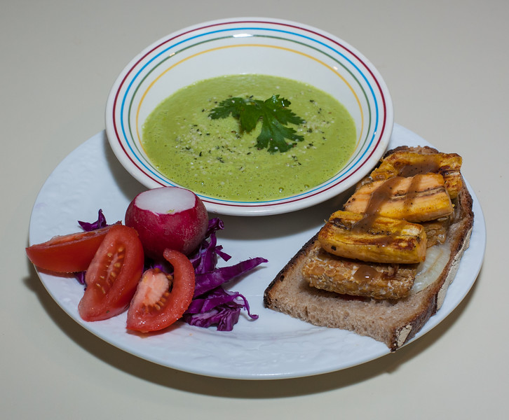 00aFavorite 20131103 Brussels Sprout Soup, Tempeh and Plantain Sandwich (No Added Fat) (2000)