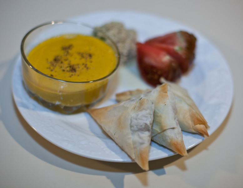 20101229 Carrot-Ginger Soup, Two Kinds of Filo Triangles
