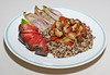 00aFavorite 20110927 Tempeh and Sweet Dumpling Squash over Tricolor Quinoa, Broiled Belgian Endive (2116)