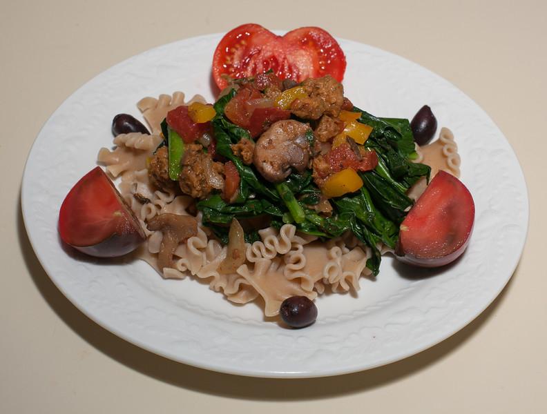 00aFavorite 20191021 (1920) 1-Pot Blanched Spigarello w Vegan Chorizo Seitan, Reginetti Pasta (No Added Fat)