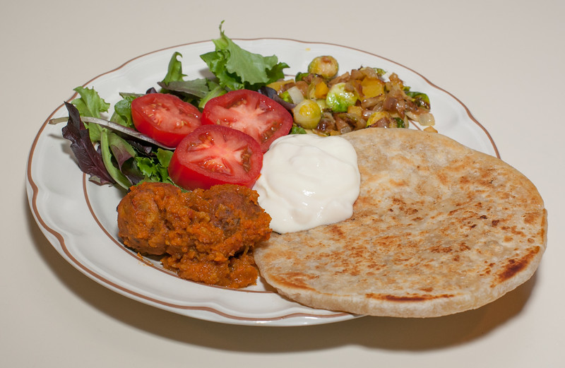 00aFavorite 20120205 Cauliflower-Stuffed Malaysian-Style Parathi, Leftover Kofta, Brussels Sprouts with Bell Pepper (2148)