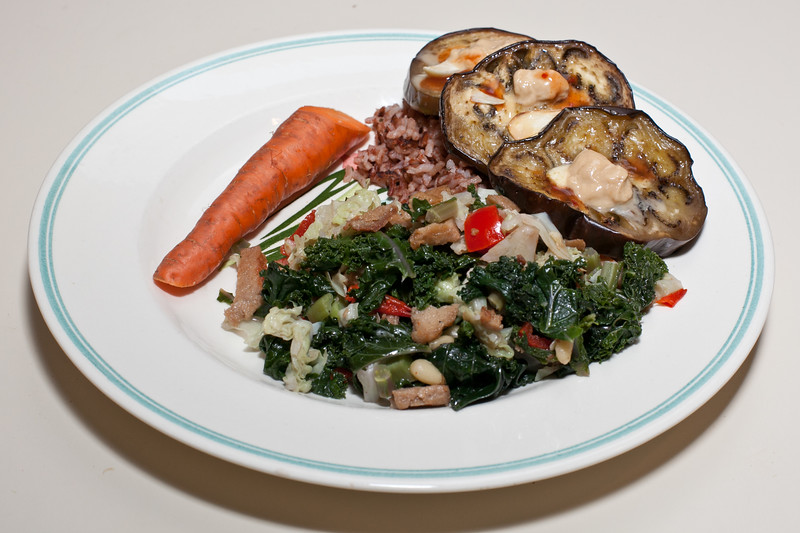 00aFavorite 20110814 Kale w cabbage and seitan, Roasted eggplant w tahini, Madagascar Pink rice