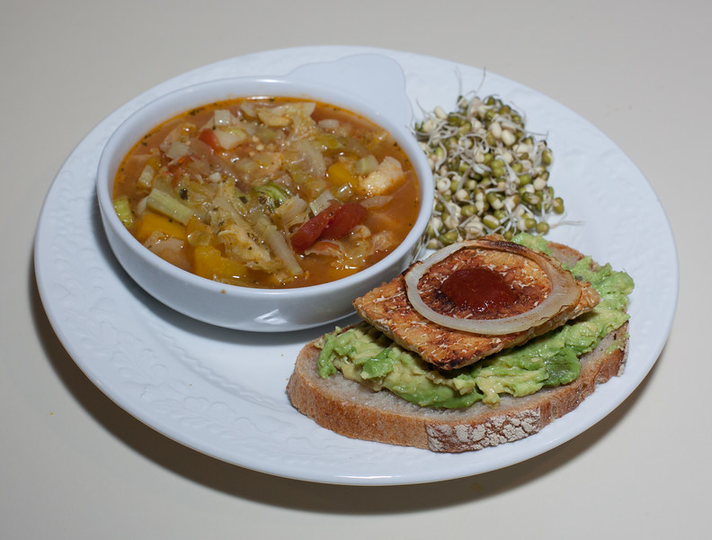 00aFavorite 20140320 Brussels Sprout Soup, Open-faced Sandwich of Tempeh w Smashed Avocado (Almost No Added Fat) (2105)