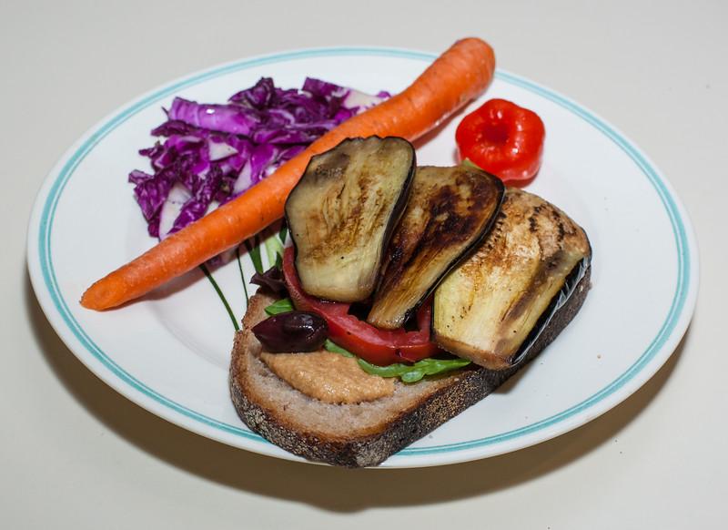 00aFavorite 20120727 Grilled Eggplant-Tomato-Olive-Hummus on Le Miche sourdough (2023)