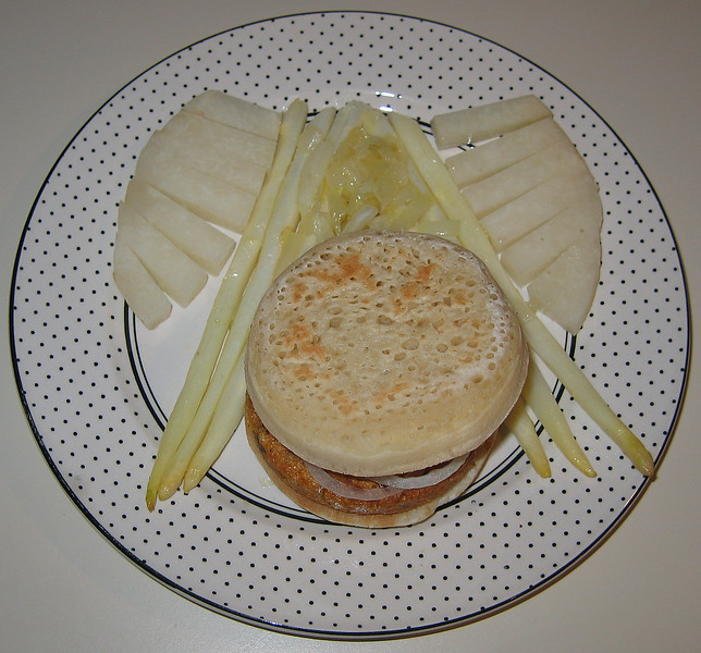 20070203 White Dinner (asparagus, jicama, garden burger on crumpet)