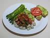 00aFavorite 20131013 Gnocchi w Tomato-Seitan Saute, Asparagus, Seeded Ciabatta Bread w Guacamole (No Added Fat besides avocado) (1851)