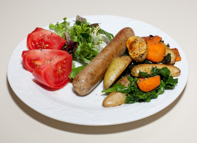 00aFavorite 20110628 Fingerling Potato-Kale-Carrot Saute with Vegan Apple-Sage Sausage
