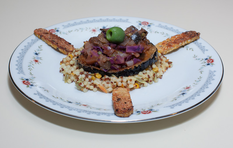 00aFavorite 20150125 Eggplant and Cabbage over Breaded Eggplant on a Harvest Grains Bed w Tempeh (1959) (No Added Fat)