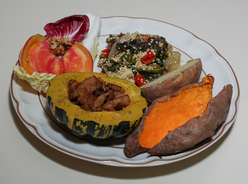 00aFavorite 20120902 Limed Jerked Seitan in Baked Squash, Sweet and Baked Potato, Mixed Vegetable Quinoa (2016)