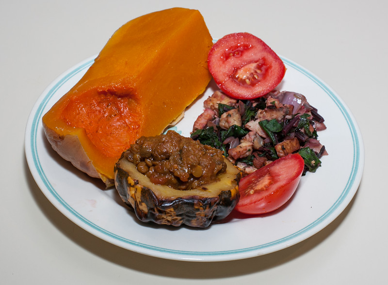 00aFavorite 20121023 Squashes stuffed with leftover Persian Bud-m-Joon (eggplant-split pea), Beet Green w Tempeh (2115)