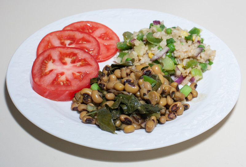 00aFavorite 20210101 (1832) New Year's Day - Black-Eyed Peas w  Steamed Collards, PCRM Mixed Vegetable Stir-Fry (No Added Fat)