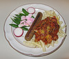 00aFavorite 20100505 Pasta with grilled 'artihearts', vegan sausage