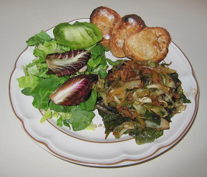 00aFavorite 20091011 Braising Greens with Vegan Chipotle Sausage