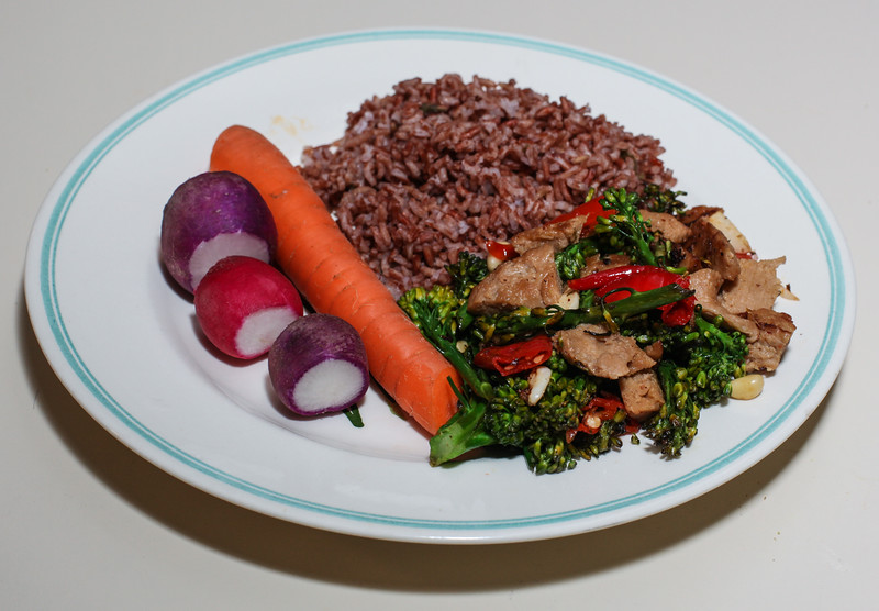 00aFavorite 20120904 Limed Seitan - Broccolini served w Madagascar Pink Rice (2059)