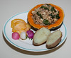 00aFavorite 20130310 Pearled Farro-Kale-Porcini Mushroom in Kabocha Squash w Baked Potato (No Added Fat) (2110)