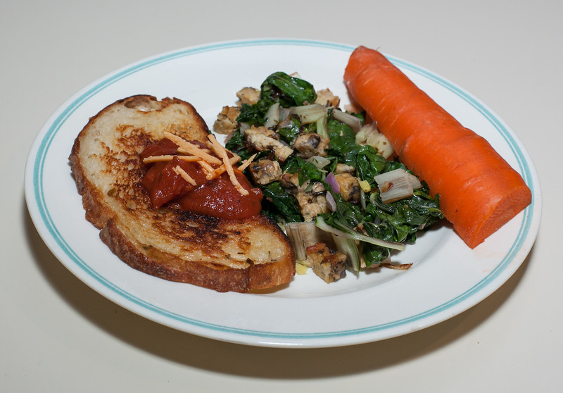 00aFavorite 20120319 Grilled Potato-Onion Bread with Marinara and Daiya Cheese, Sauteed Greens with Tempeh (1951)