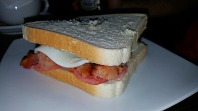 Bacon, Sausage & Fried Egg Sandwich