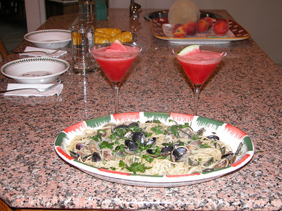 Saturday Night Special - Sphagettini con Vongole and Watermelon Martinis