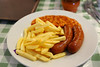 Sausage, Chips & Beans. £4.80. Served in Buckfastleigh station cafe  20/04/14
