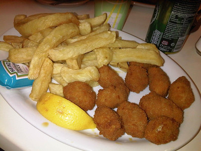 "Scampi & Chips. £6.00  Served in ""Britannia Fish & Chips"" in Portsmouth  25/02/13"
