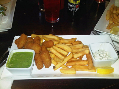 "Scampi and chips - served with mushy peas, tatare saucer and fresh lemon. £9.45. Served in ""The Ship Inn"" in Swanage  10/05/14"