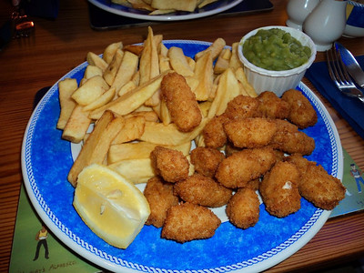 "Breaded Scampi & Chips. £10.45. Served in ""Hanbury's"" in Torquay  29/05/14"
