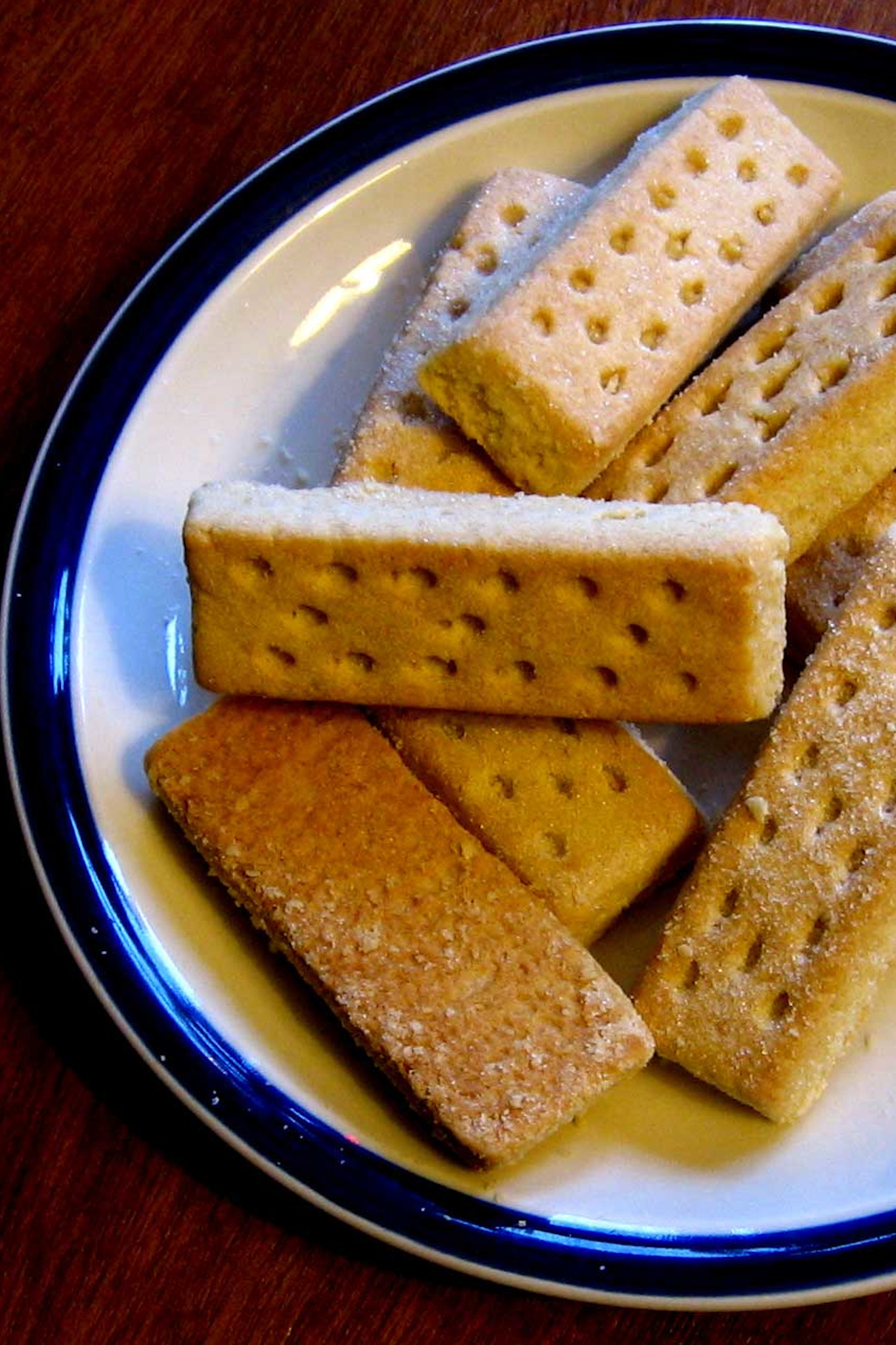 A typical scottish snacks, shortbreads on a white plate.