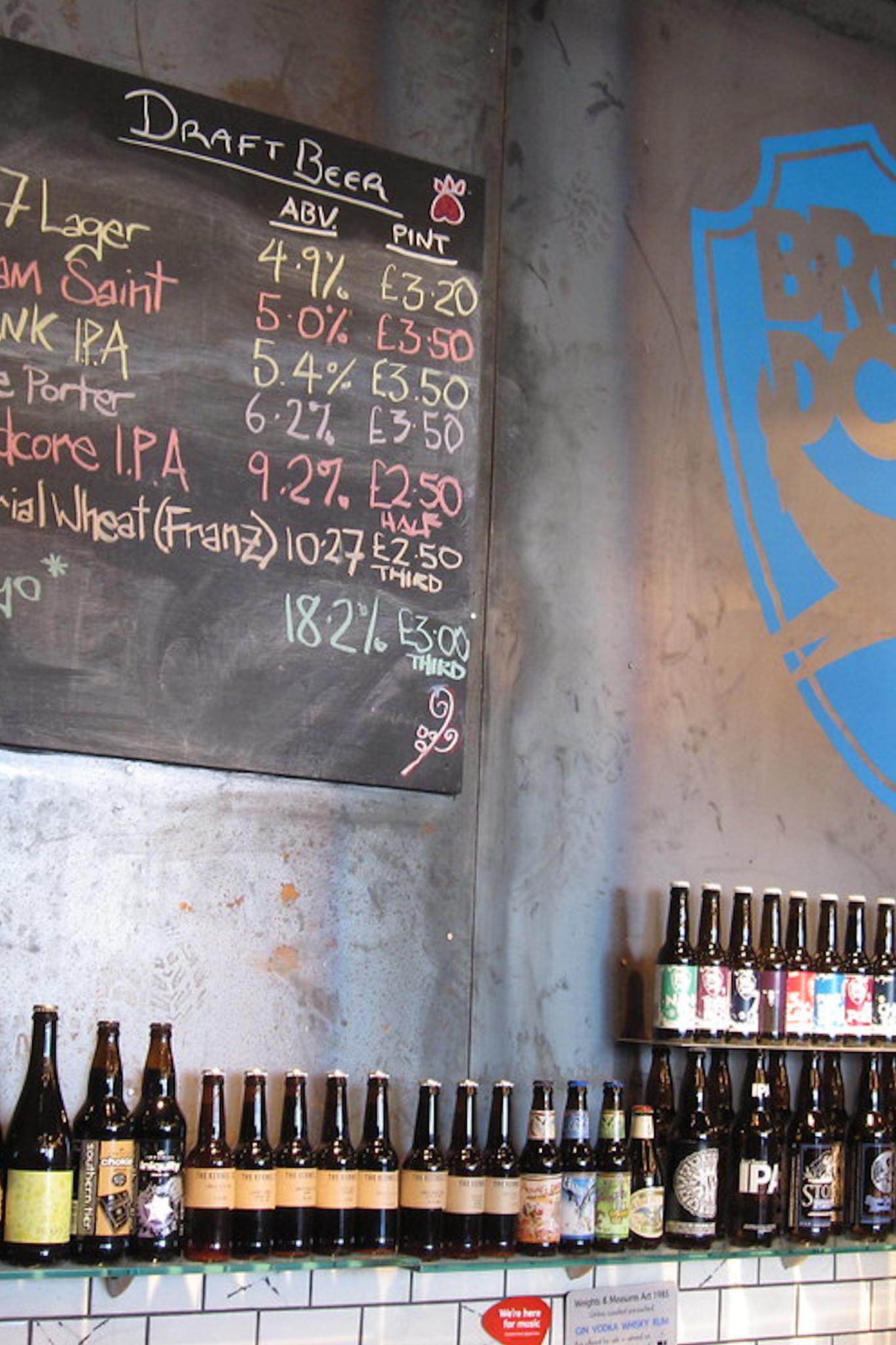 Scottish Ale bottles at a bar