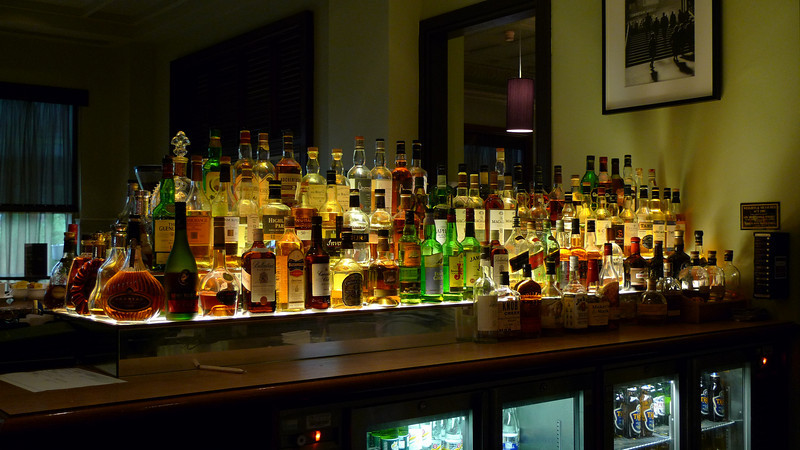 The Hilton Hotel Bar in Glasgow featuring over 100 different whiskeys