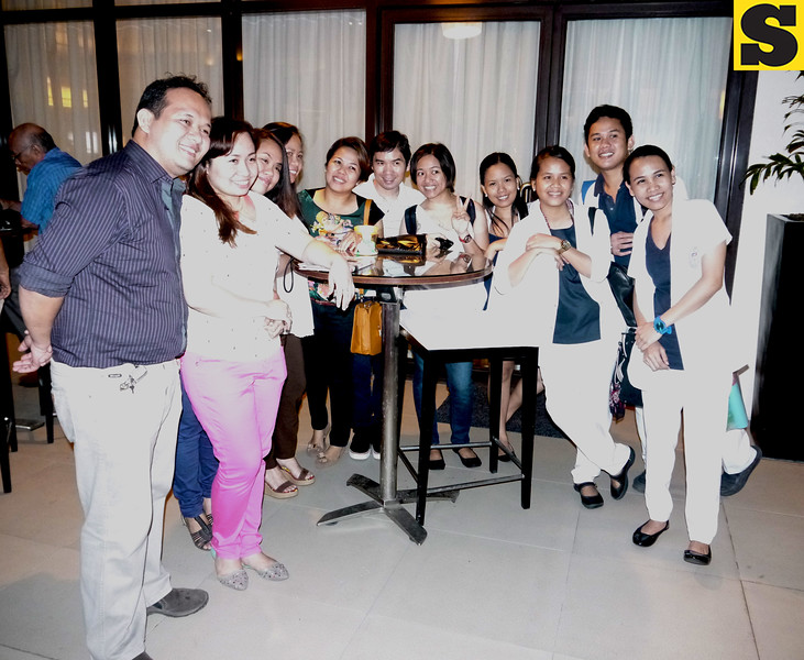 Guests from hospitals, pharmaceuticals pose during the manager's cocktail at Seda's Misto on August 8, 2014. (Courtesy: Myles C. Albasin, UP Cebu Intern)