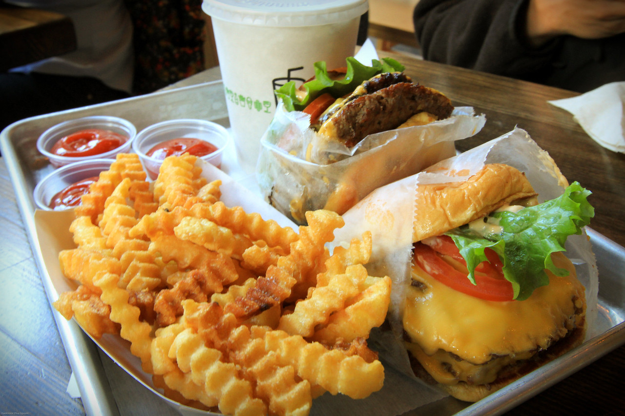 2 Double Shake Shack Burgers, Fries and Root Beer. Total cost, $20.