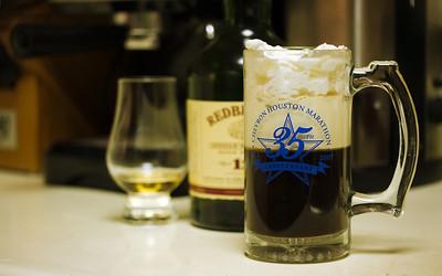 Irish coffee (sort of):  Espresso double shot, 2 tsp brown sugar, 1.5 oz Irish whisky, 1.5 oz heavy cream, Whipped cream topping,
