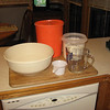 Ready to mix, large bowl. flour, water, starter, measuring cup