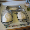 (17) divide dough and put in bread pans, then cover and let rest until the dough fills the pans, 2 to 3hrs, (could be more) the longer the resting the better the bread, (just my opinion)