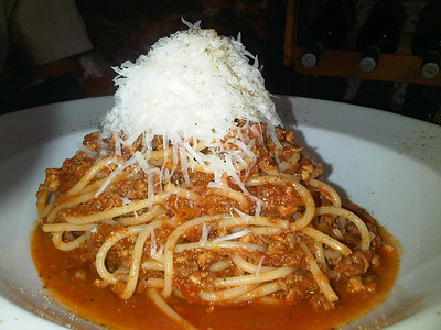 """Spaghetti Bolognese. £9.00 . Served in """"Fresco"""" in Teignmouth  10/07/14"""
